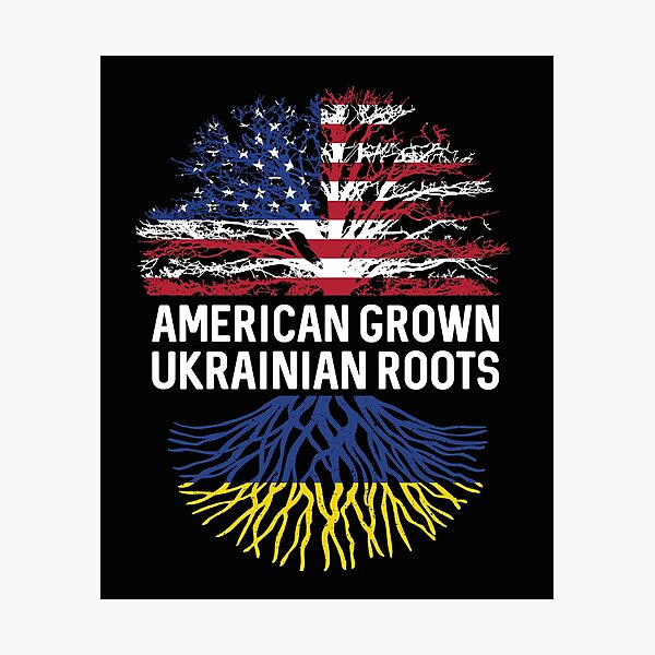 American Grown with Ukrainian roots US and Ukraine flag tree  Photographic Print