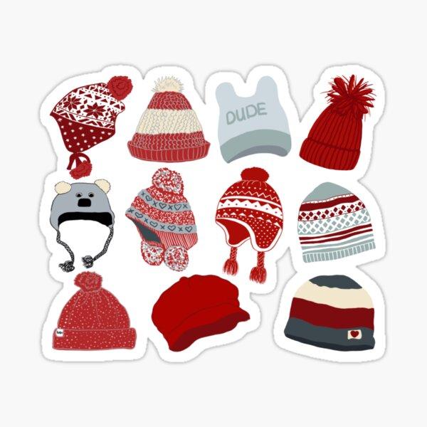 Cool Hats-Winter woolie hats Christmas pattern Sticker