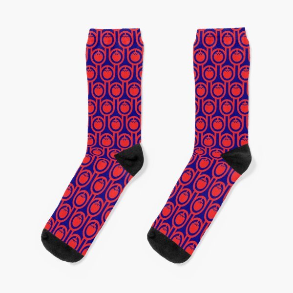 Scandi Midcentury Modern Retro Geometric Tomatoes Pattern Socks