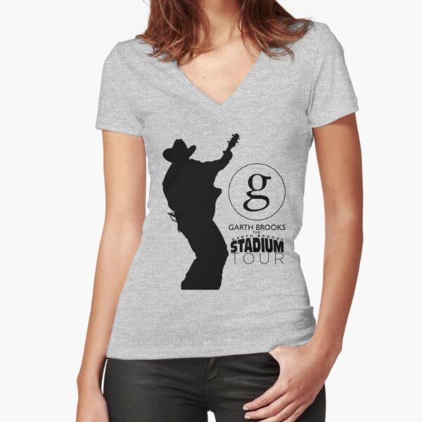 garth brooks sketch stadium tour 2019 2020 gakkelar Fitted V-Neck T-Shirt