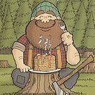 Lumberjack and Pancakes Cartoon Illustration by carlbatterbee