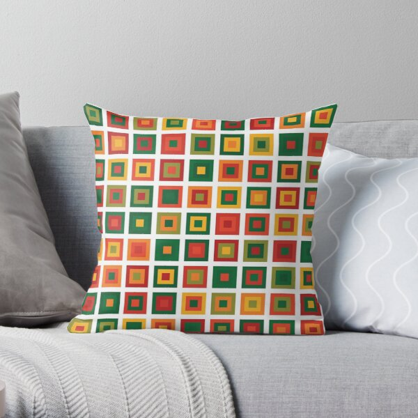 Christmas Tree Geometric Squares | Pattern Green Yellow Orange Red Throw Pillow
