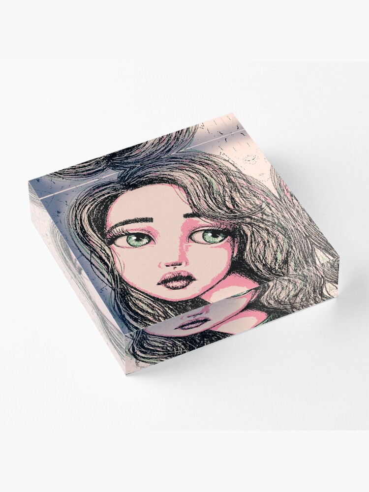 Alternate view of Green-Eyed Girl Acrylic Block
