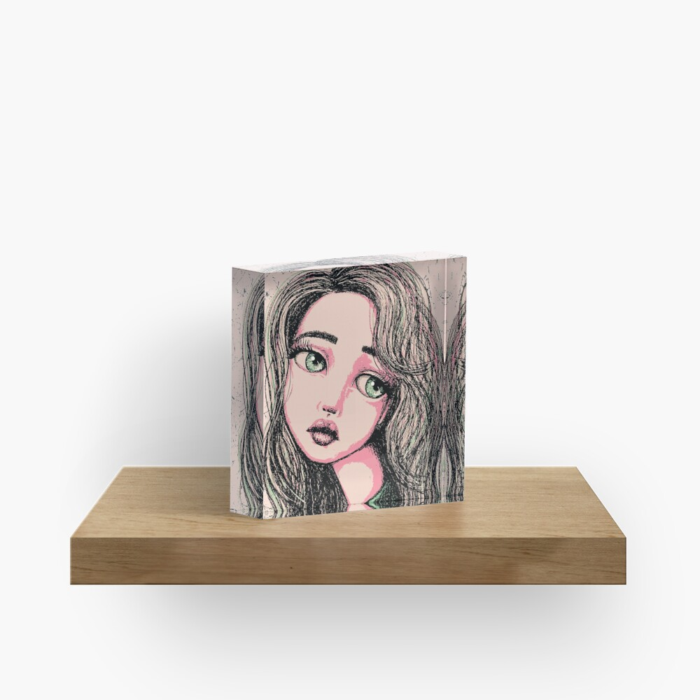 Green-Eyed Girl Acrylic Block