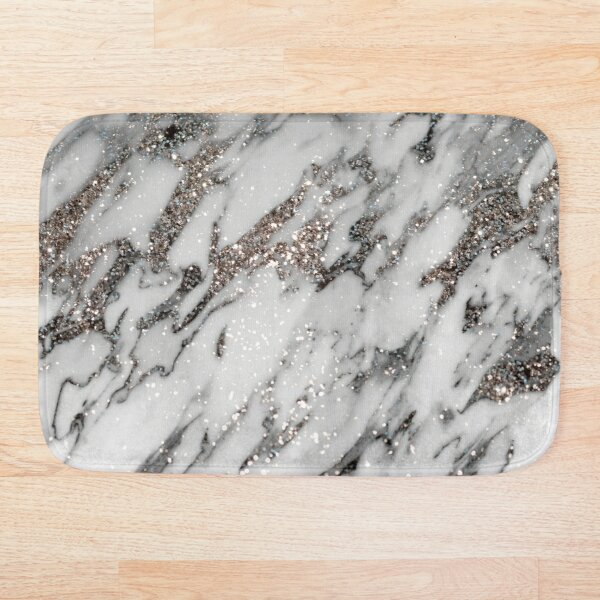 Classic White Marble Silver Glitter Glam #1 (Faux Glitter) #marble #decor #art  Bath Mat