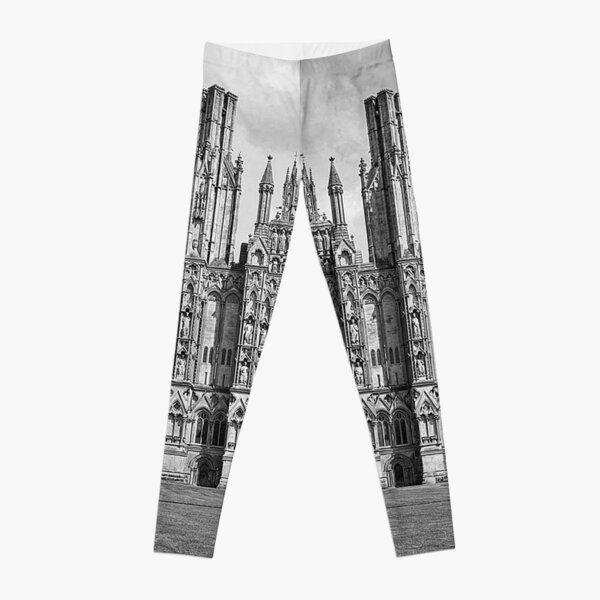 Wells Cathedral in Black and white  Leggings
