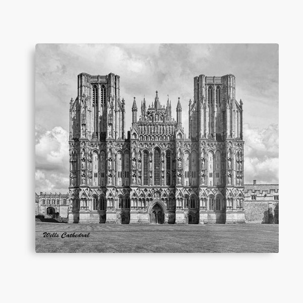 Wells Cathedral in Black and white  Metal Print