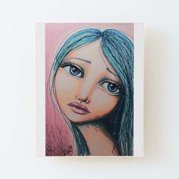 Blue Girl Wood Mounted Print