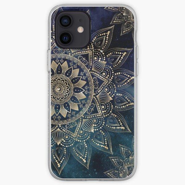 Elegante oro Mandala Blue Galaxy Design Funda blanda para iPhone