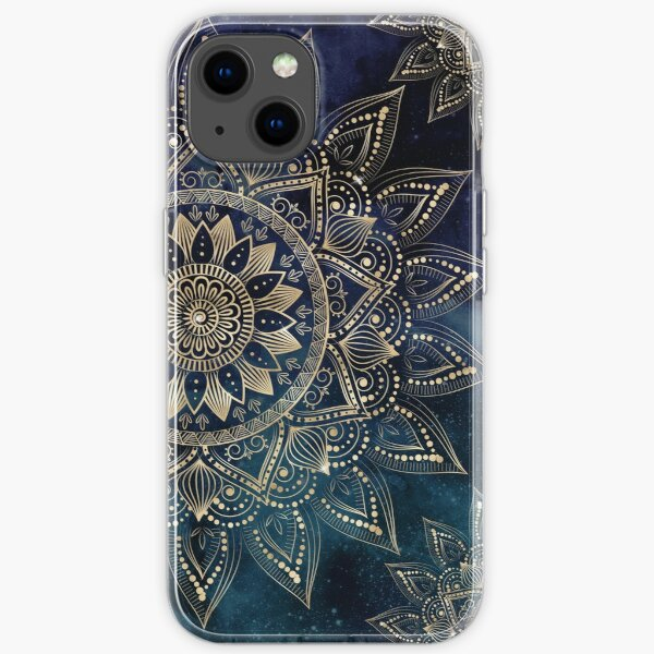Elegant Gold Mandala Blue Galaxy Design iPhone Soft Case