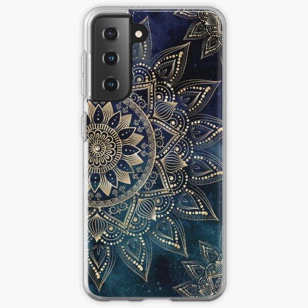 Elegant Gold Mandala Blue Galaxy Design Samsung Galaxy Soft Case