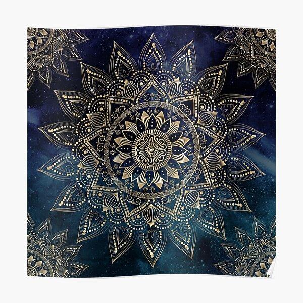 Elegant Gold Mandala Blue Galaxy Design Poster