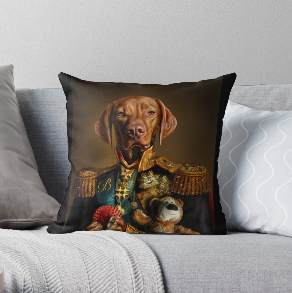 Bertie the Hungarian Vizsla - Dog Portrait Throw Pillow