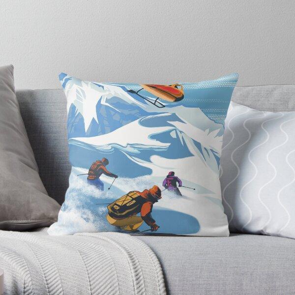 RETRO HELISKI REVELSTOKE SKI POSTER Throw Pillow