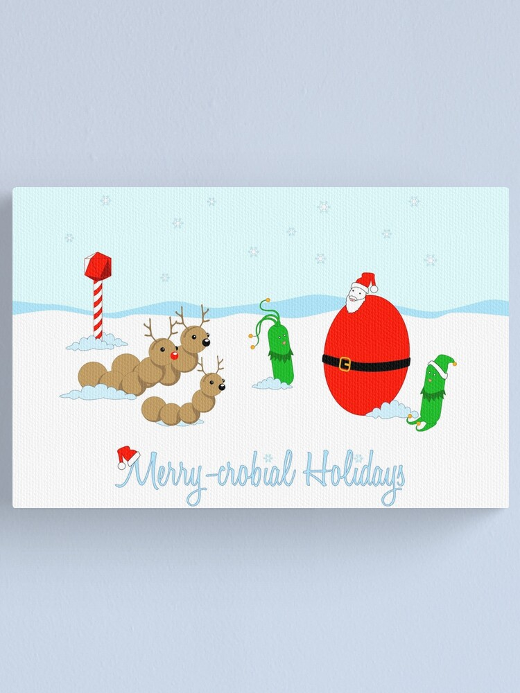 Alternate view of Merry-crobial Holiday Greetings Canvas Print