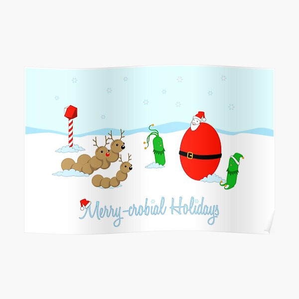 Merry-crobial Holiday Greetings Poster