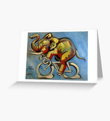 Elephas Maximus on a Bicycle Greeting Card