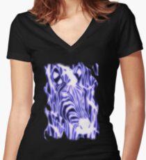 'Electric Zebra' (large logo) Women's Fitted V-Neck T-Shirt