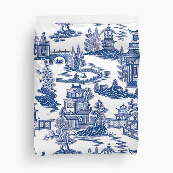 Blue Willow Ancient Ming China - Blue And White Chinoiserie  Duvet Cover