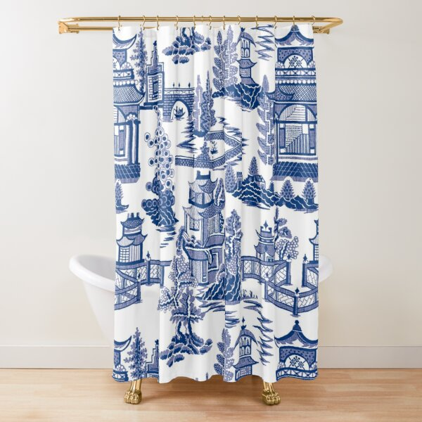 Blue Willow Ancient Ming China - Blue And White Chinoiserie  Shower Curtain