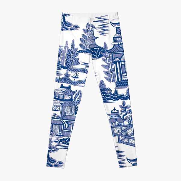 Blue Willow Ancient Ming China - Blue And White Chinoiserie  Leggings