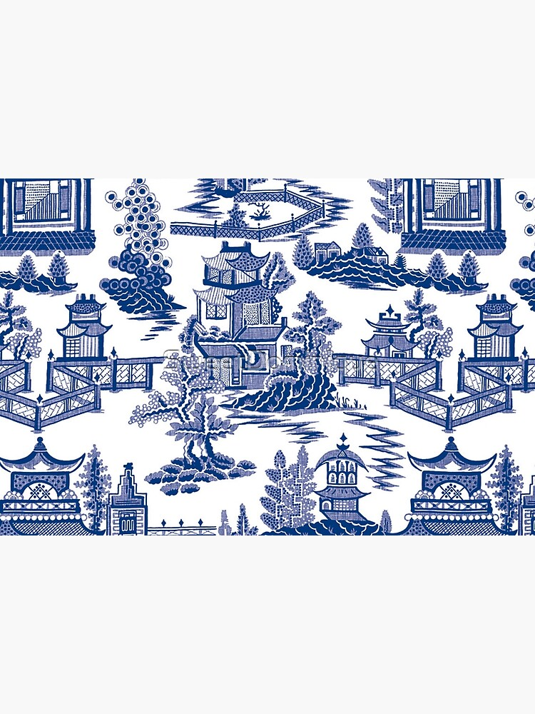 Blue Willow Ancient Ming China - Blue And White Chinoiserie  by SweetDominique
