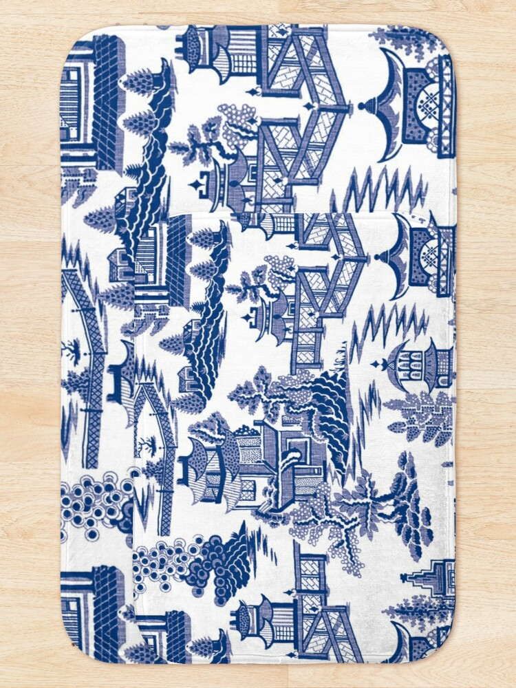 Alternate view of Blue Willow Ancient Ming China - Blue And White Chinoiserie  Bath Mat