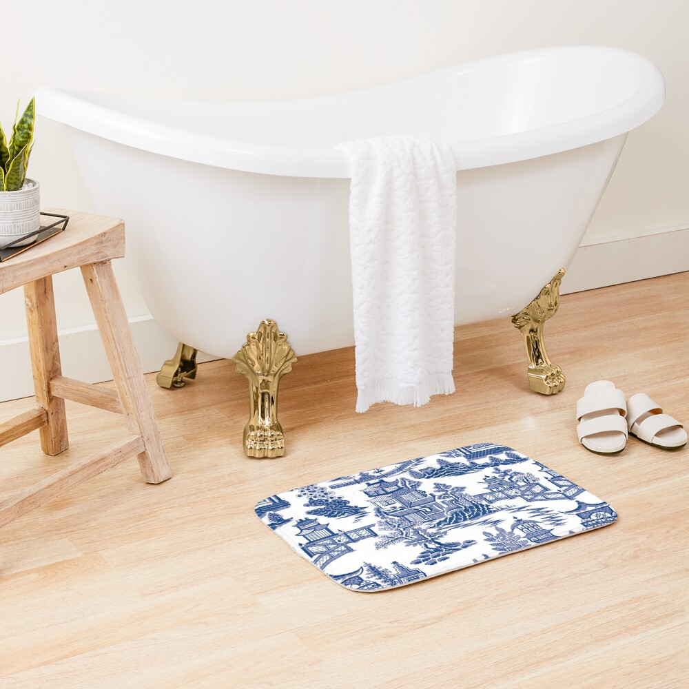 Blue Willow Ancient Ming China - Blue And White Chinoiserie  Bath Mat