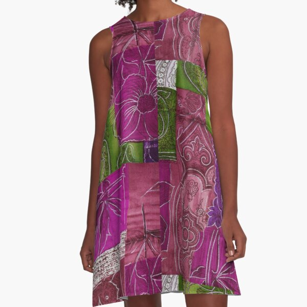 Patchwork Pink Floral Tie Dyed A-Line Dress