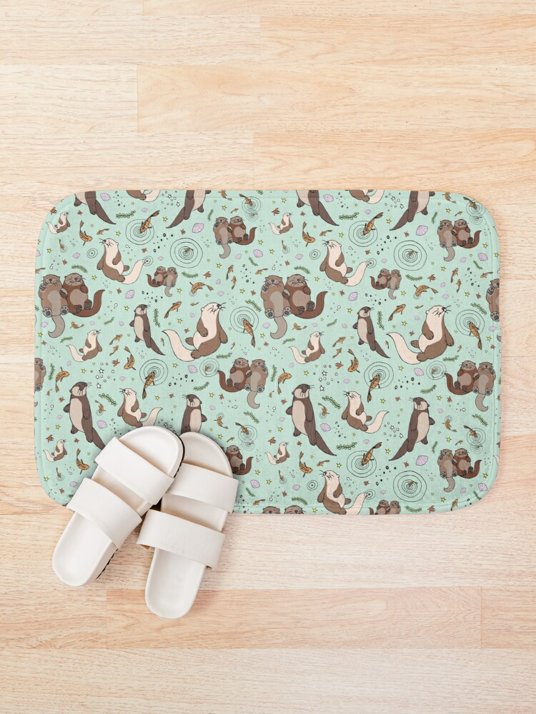 Alternate view of Otters in Blue Bath Mat