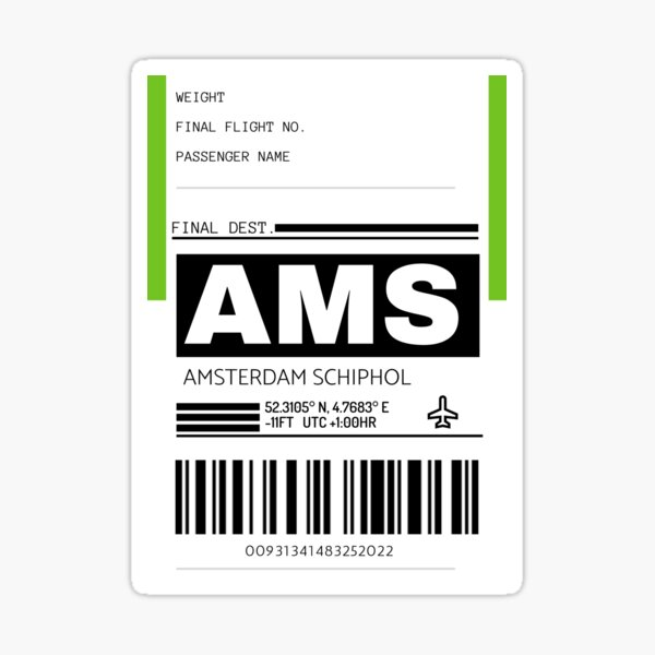 AMS Amsterdam Schiphol International Airport Luggage Tag  Sticker
