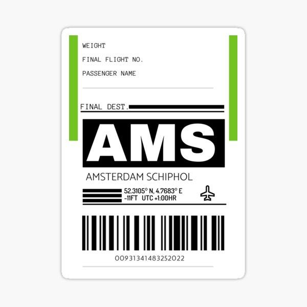 Etiqueta de equipaje del aeropuerto internacional AMS Amsterdam Schiphol Pegatina