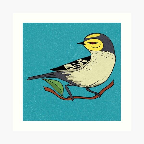 Yellow Bird Gold Cheek Warbler Songbird 8 of 9 Art Print
