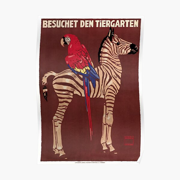 1912 Ludwig Hohlwein Visit The Zoo Zebra Macaw Poster Poster