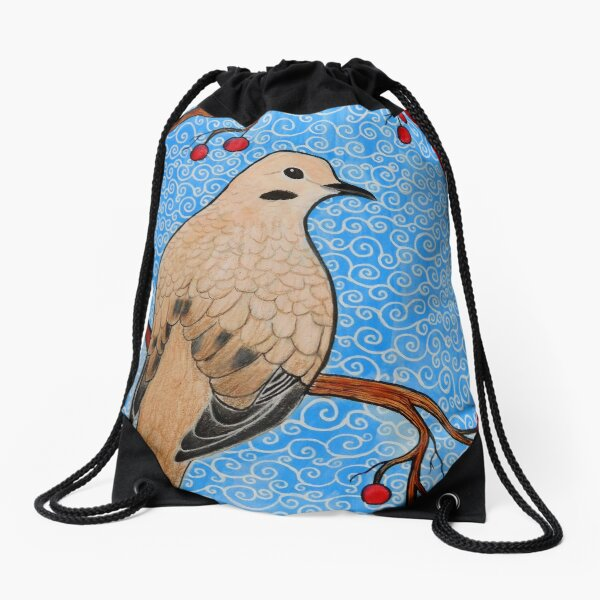 Good Mourning, Dove (With a Dark Background) Drawstring Bag