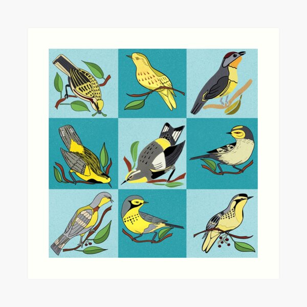 Nature's Nine Yellow Bird Warbler Songbirds Art Print