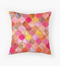 Hot Pink, Gold, Tangerine & Taupe Decorative Moroccan Tile Pattern Throw Pillow