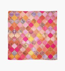 Hot Pink, Gold, Tangerine & Taupe Decorative Moroccan Tile Pattern Scarf