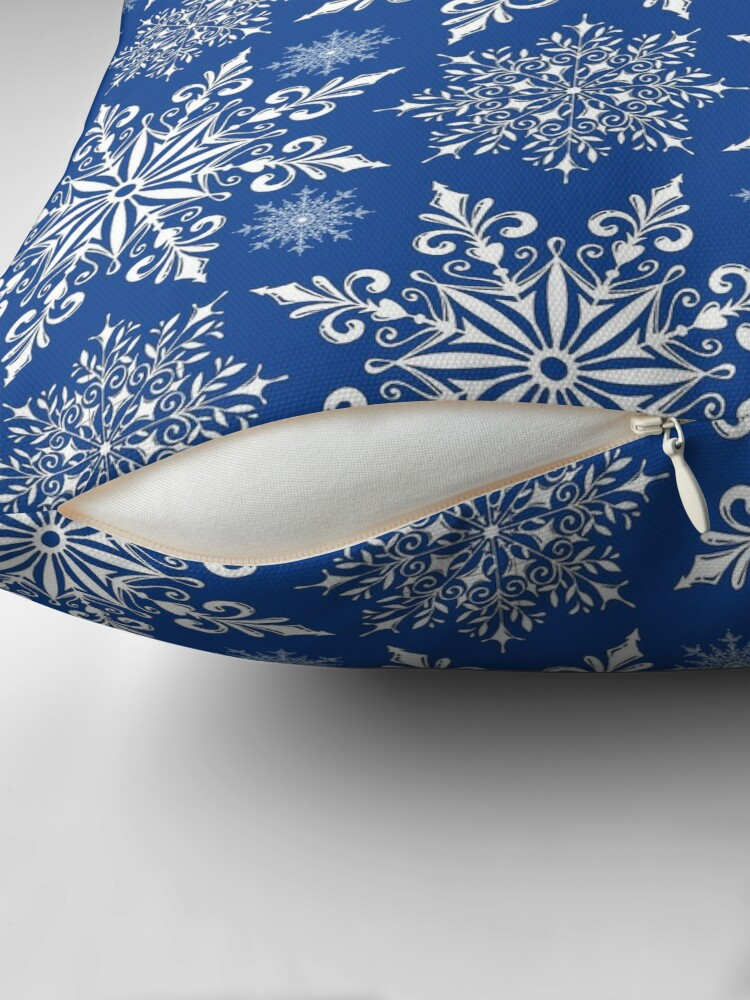 Alternate view of Holiday Snowflake Continuous Pattern #1 on Blue Background Throw Pillow