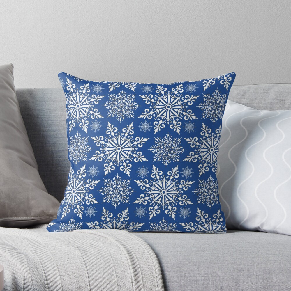 Holiday Snowflake Continuous Pattern #1 on Blue Background Throw Pillow