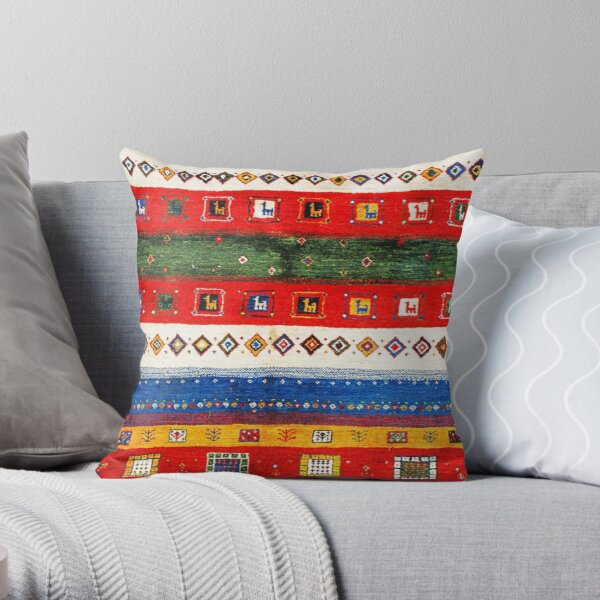 Colored Andalusian Traditional Moroccan Vintage Artwork Throw Pillow