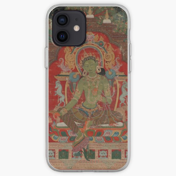 Green Tara (Khadiravani) is usually associated with protection from fear and the eight obscurations: pride, ignorance, hatred and anger,  jealousy, bandits and thieves and so on.  iPhone Soft Case
