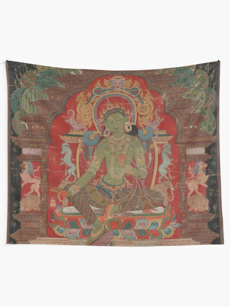 Alternate view of Green Tara (Khadiravani) is usually associated with protection from fear and the eight obscurations: pride, ignorance, hatred and anger,  jealousy, bandits and thieves and so on.  Tapestry