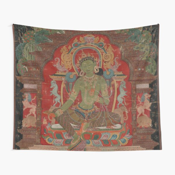 Green Tara (Khadiravani) is usually associated with protection from fear and the eight obscurations: pride, ignorance, hatred and anger,  jealousy, bandits and thieves and so on.  Tapestry