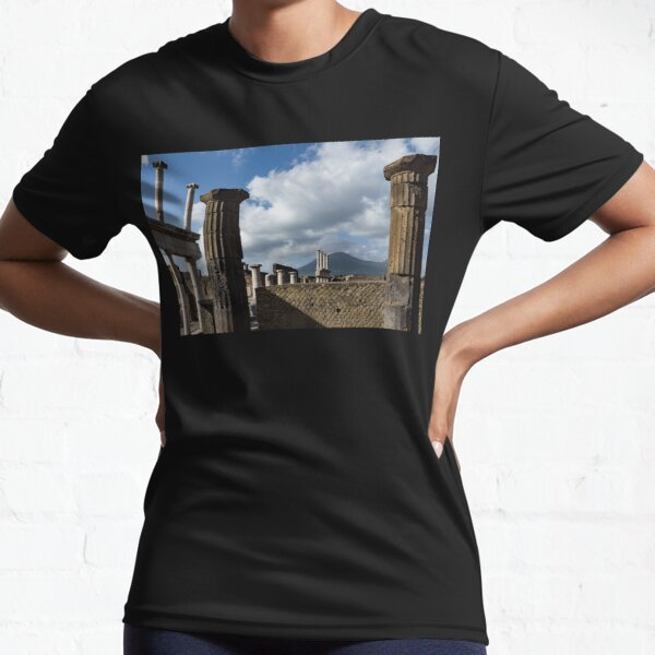 Ancient Pompeii - the Forum Columns Framing Mount Vesuvius Volcano Active T-Shirt