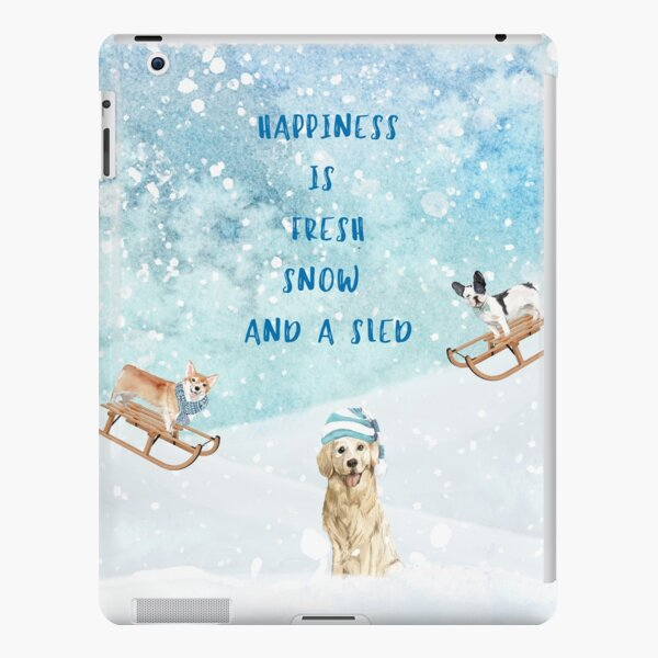Happiness is, winter decor, winter dogs iPad Snap Case