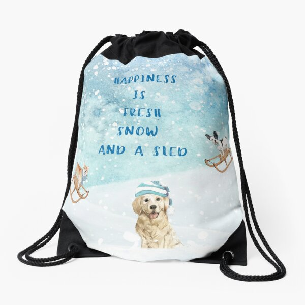 Happiness is, winter decor, winter dogs Drawstring Bag