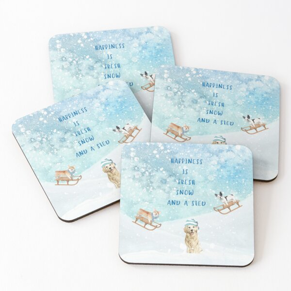Happiness is, winter decor, winter dogs Coasters (Set of 4)