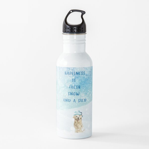 Happiness is, winter decor, winter dogs Water Bottle