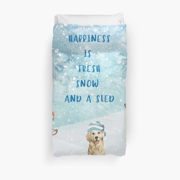 Happiness is, winter decor, winter dogs Duvet Cover